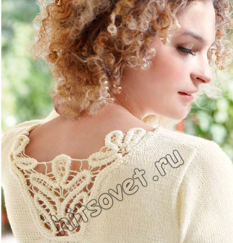 Пуловер с кружевной вставкой, фото 2.