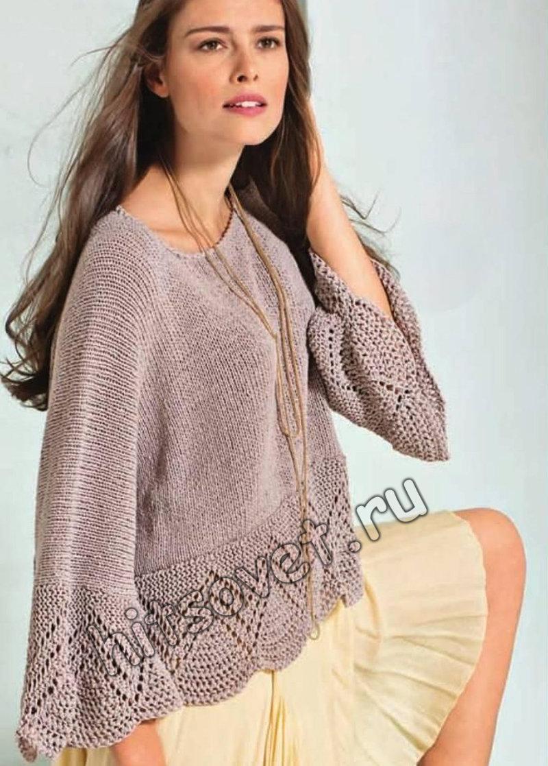Свободный пуловер описание и схемы