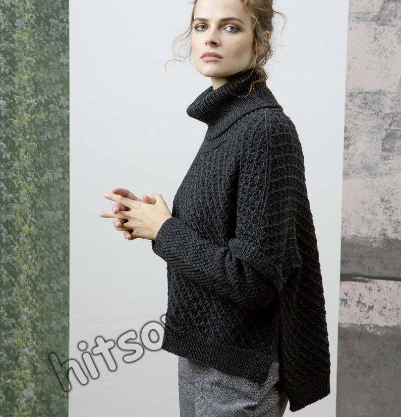 Свободный вязаный свитер схема, фото 1.