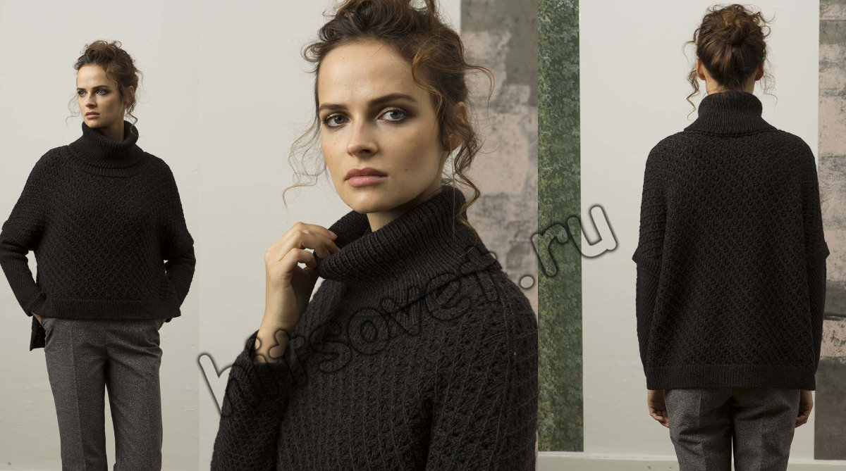 Свободный вязаный свитер схема, фото 2.
