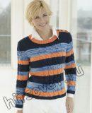 Трехцветный пуловер с косами, фото.