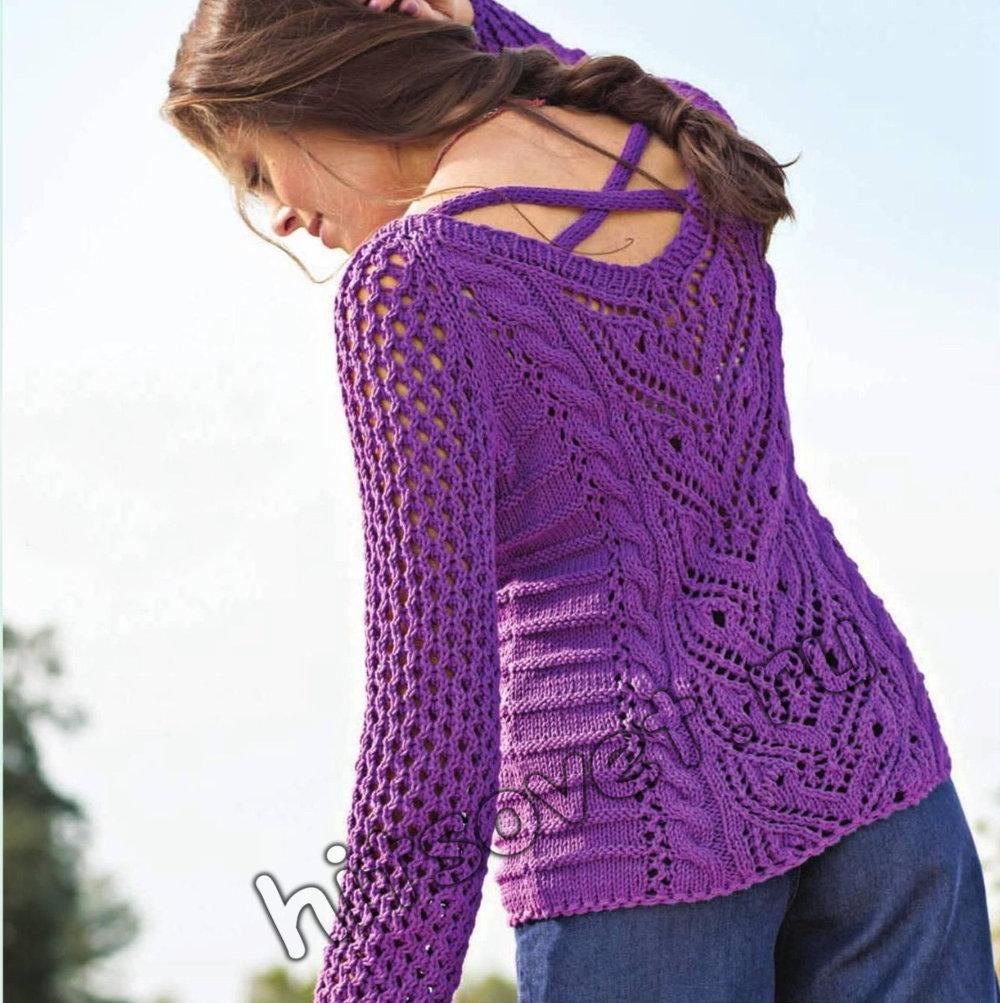 Вязание пуловера с красивым узором, фото 1.
