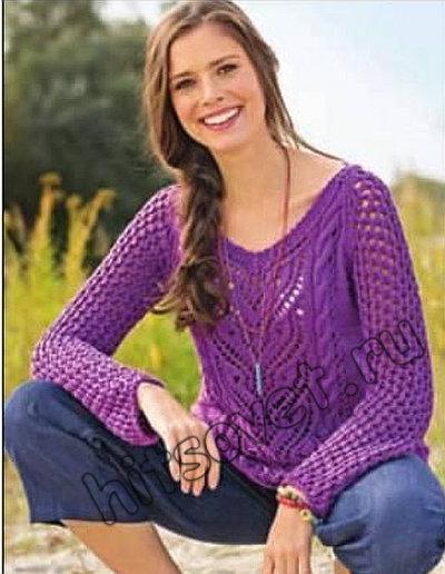 Вязание пуловера с красивым узором, фото 2.