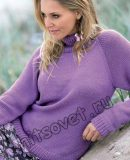Пуловер реглан спицами женский, фото.