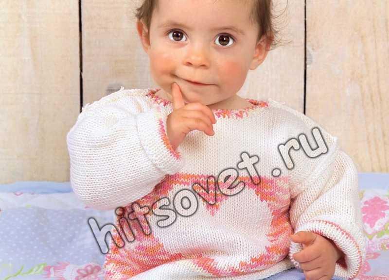 Вязание для малышей пуловера с сердечком, фото 1.
