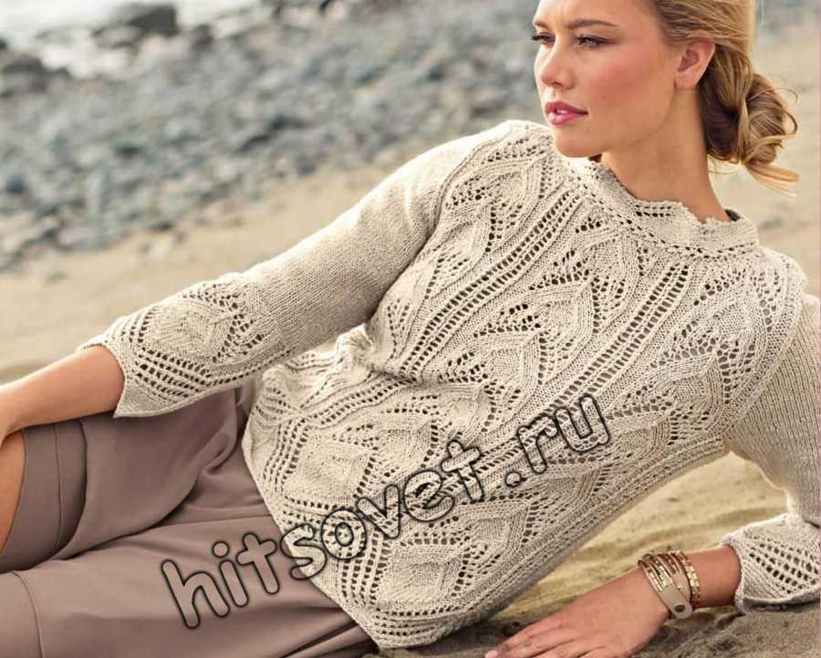 Вязание спицами ажурного пуловера схемы, фото.