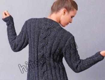 Вязание спицами кардигана с косами, фото 2.