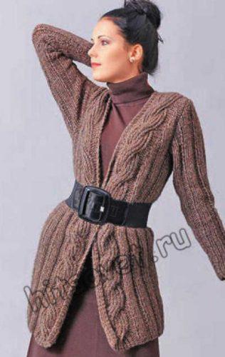 Вязание спицами кардигана с косами, фото 3.