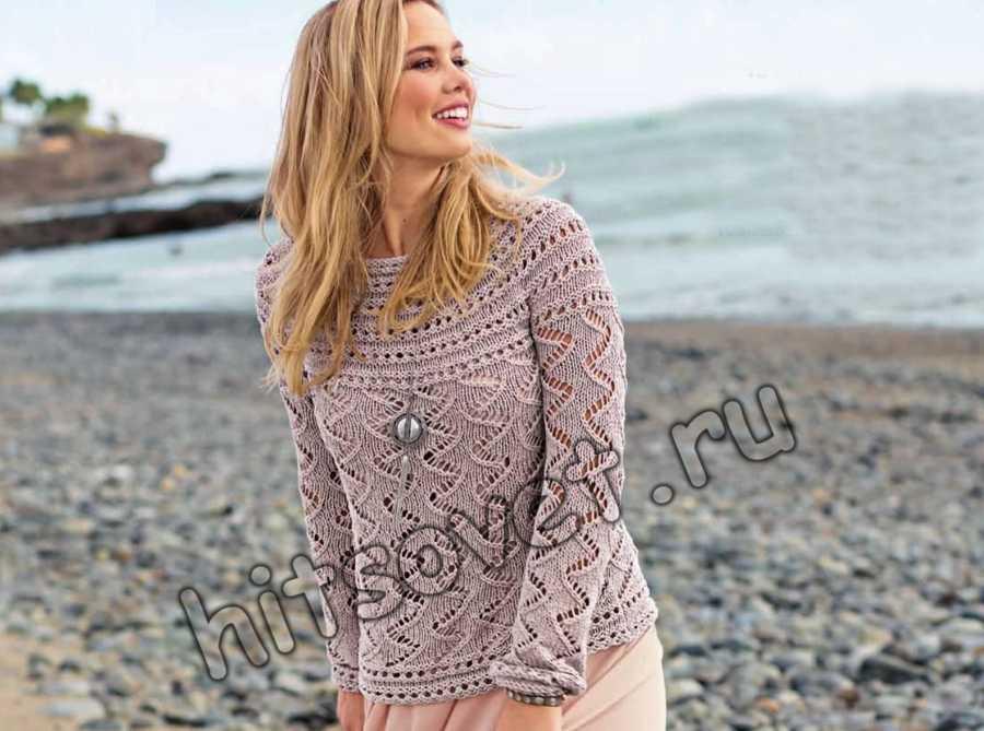 Вязание спицами пуловер с круглой кокеткой, фото.