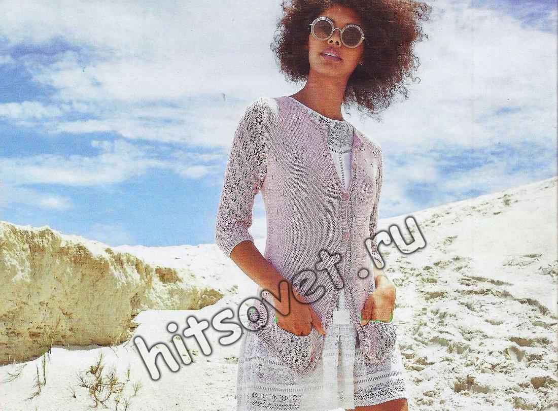 Вязание жакета с ажурными рукавами, фото.