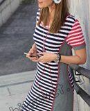 Вязаное полосатое платье, фото.