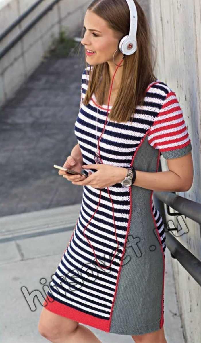 Вязаное полосатое платье