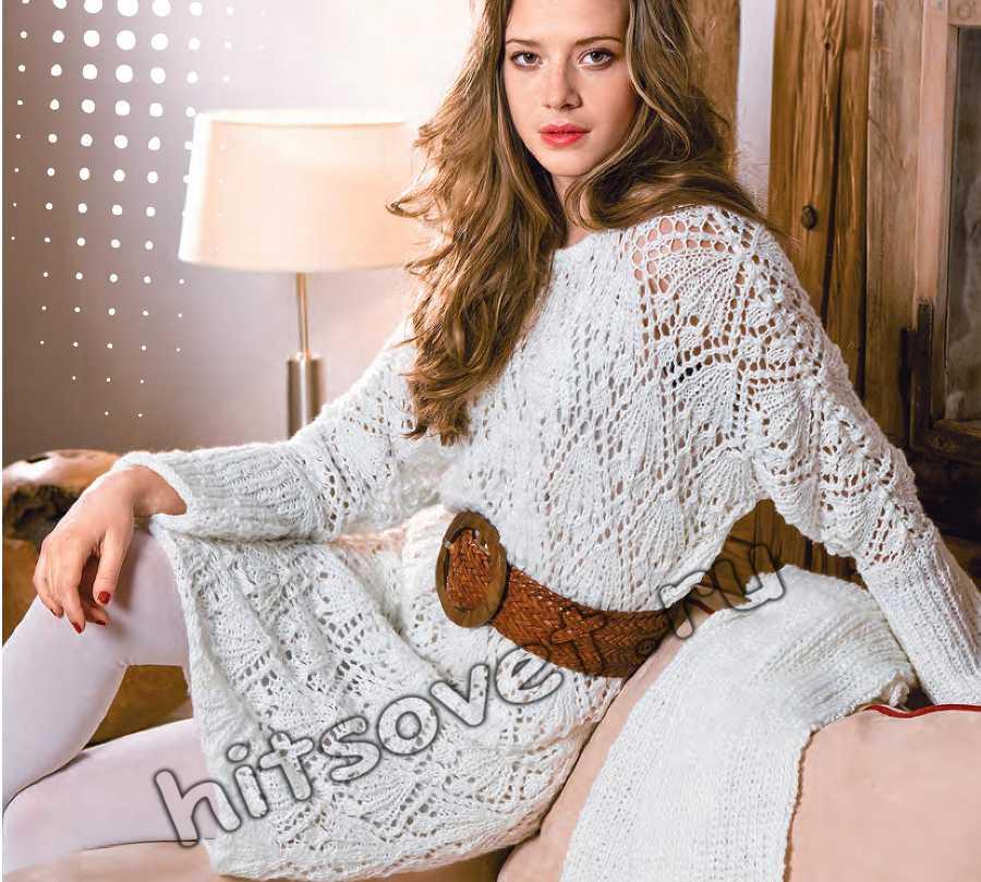 Белое ажурное платье спицами, фото.