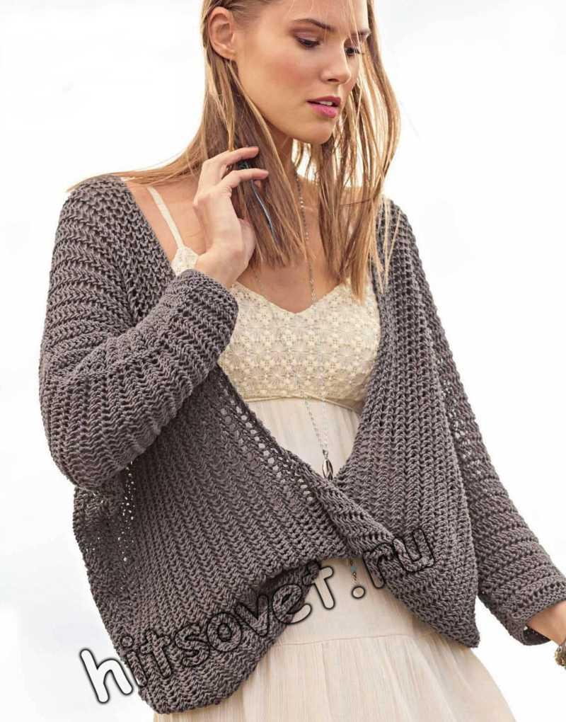 Пуловер единым полотном спицами, фото.