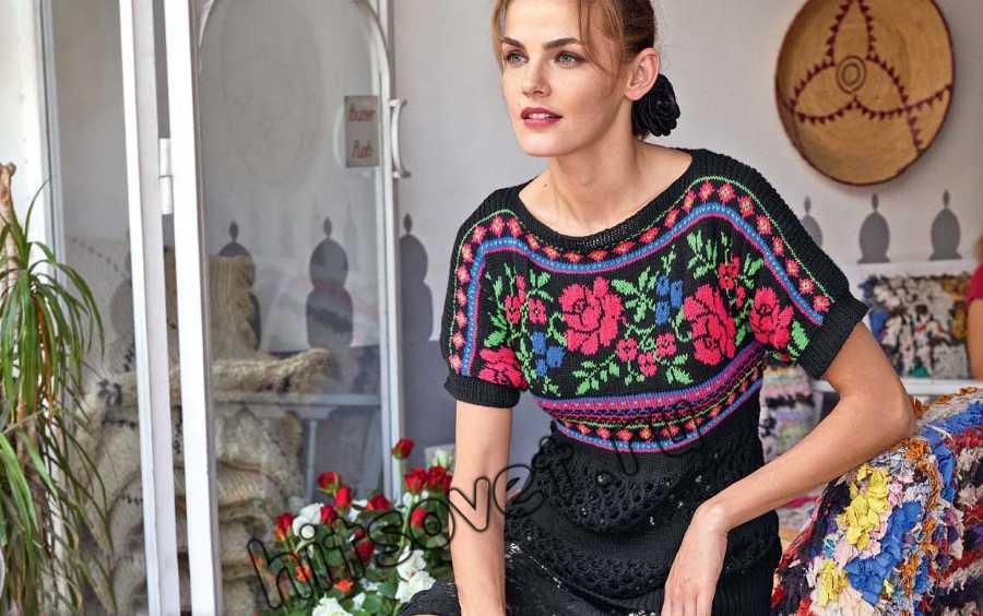 Пуловер с розами, фото.