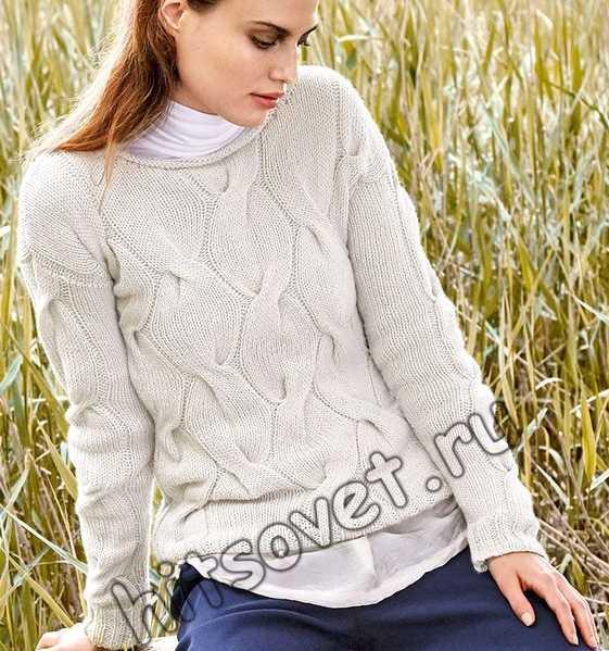 Пуловер с широкой косой, фото.