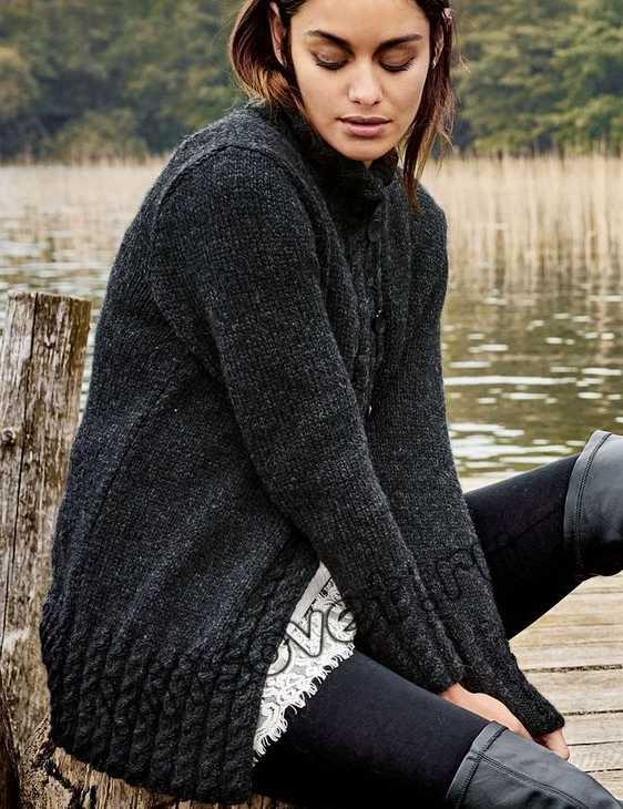 Вязание спицами жакета с косами, фото.