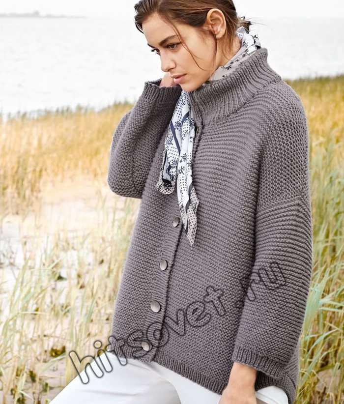 Жакет платочной вязкой