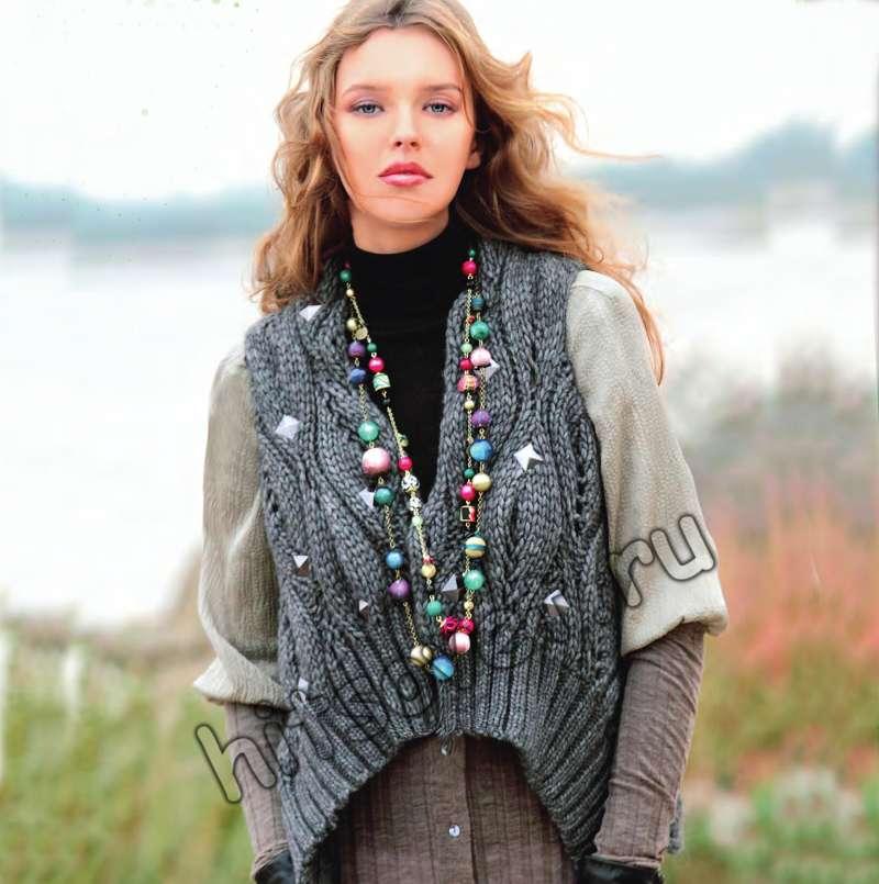 Описание вязания модного жилета