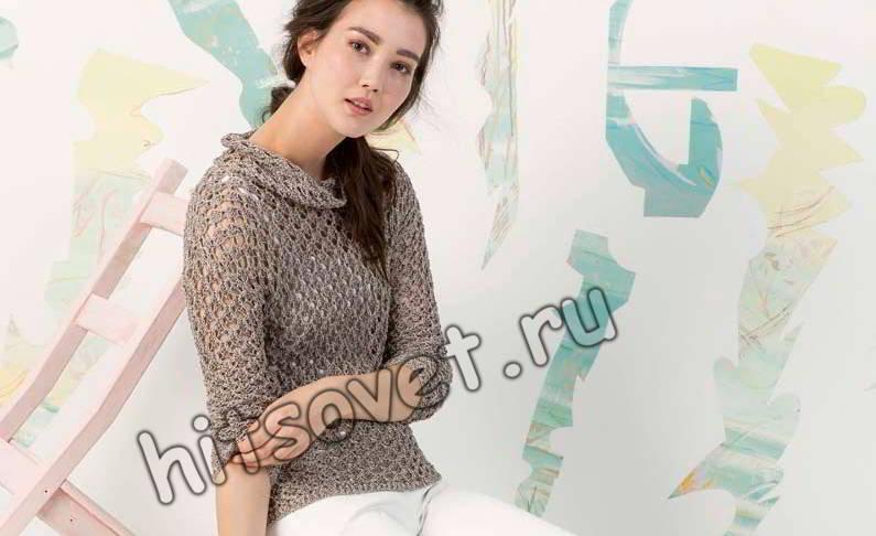 Пуловер сетка спицами, фото 1.