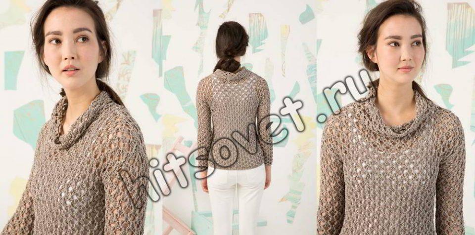 Пуловер сетка спицами, фото 2.