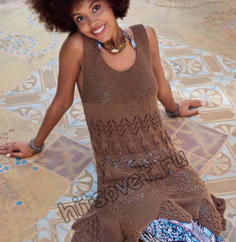 Вязание спицами платья, фото.