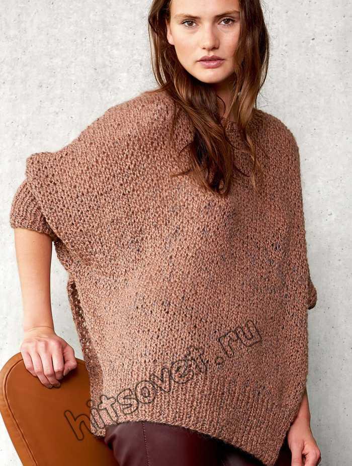 Свободный пуловер вязание спицами