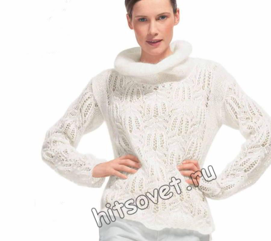 Белый пуловер из мохера спицами