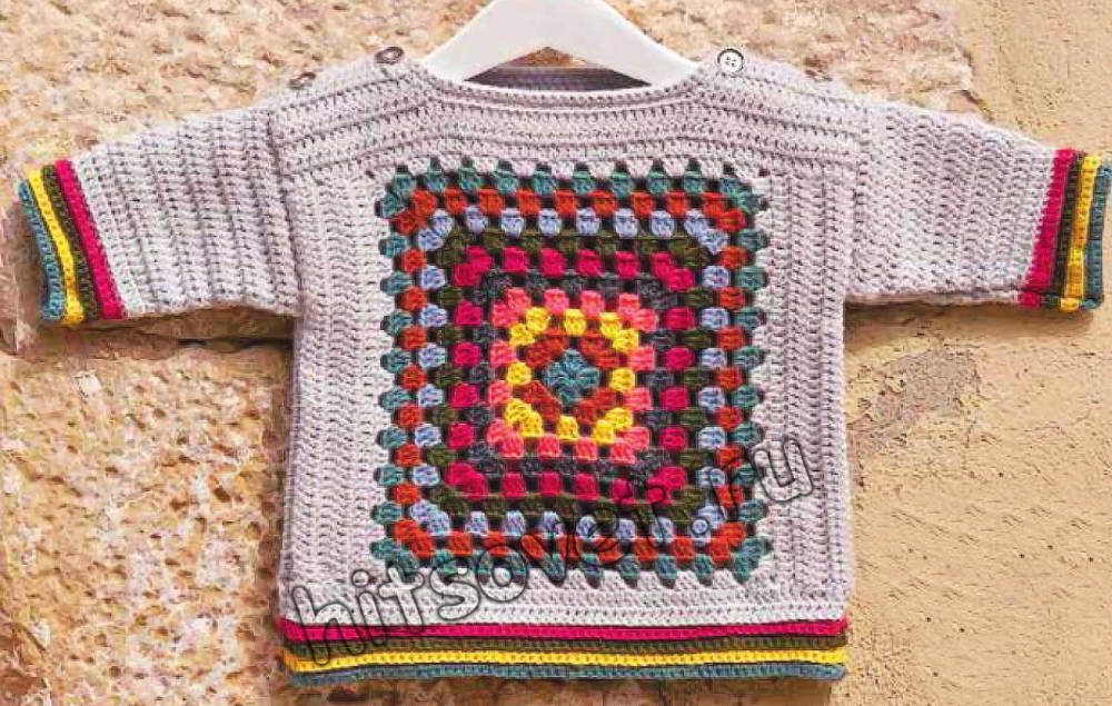 Детский пуловер крючком, фото.