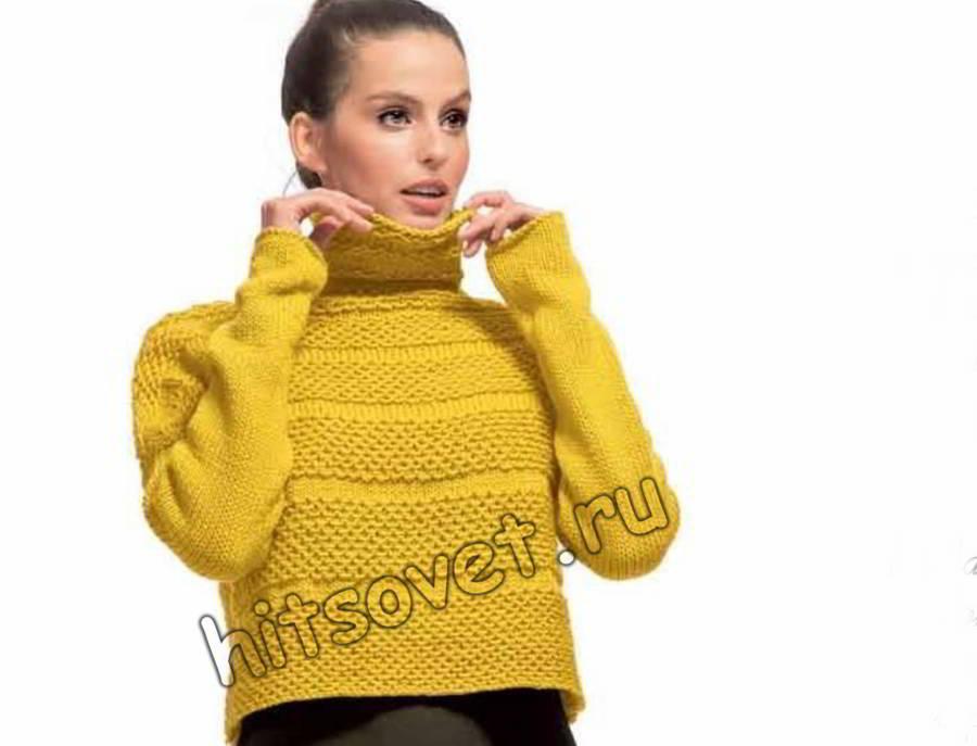 Короткий свитер спицами, фото 1.