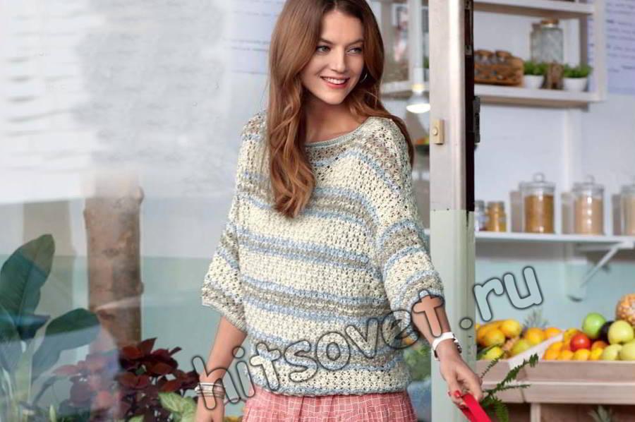 Летний пуловер из хлопка схема, фото.