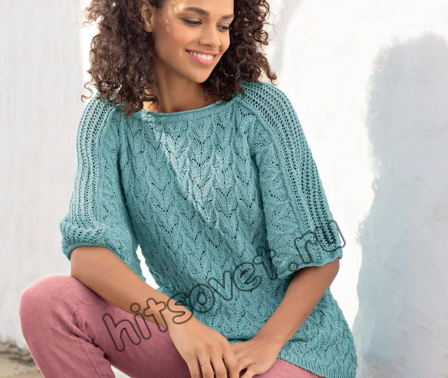 Летний пуловер с листиками, фото.