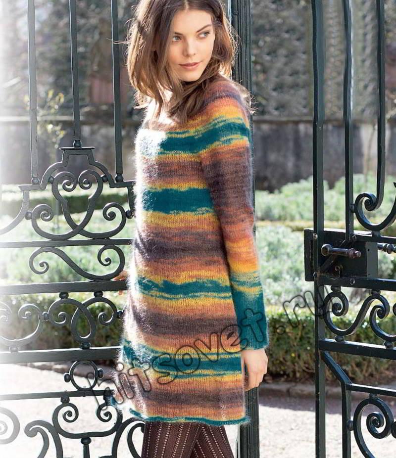 Платье с круглой кокеткой спицами, фото.