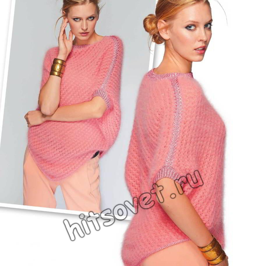 Пончо вязаное, фото.