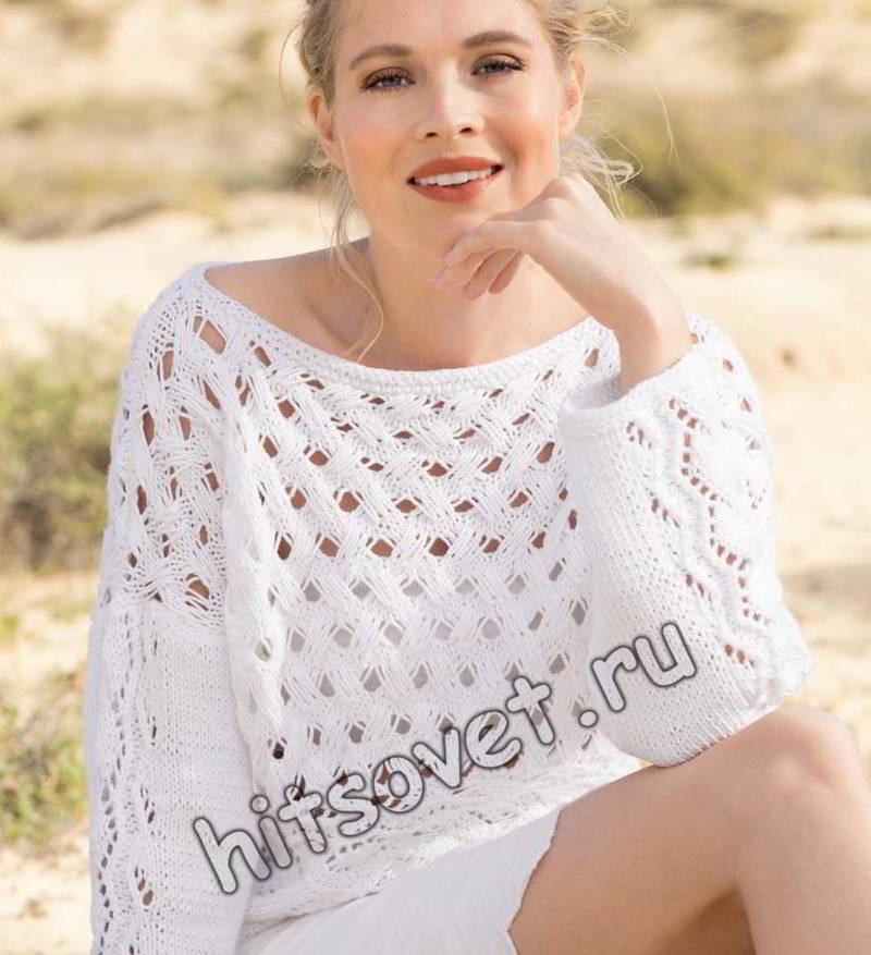Пуловер из вытянутых петель, фото.