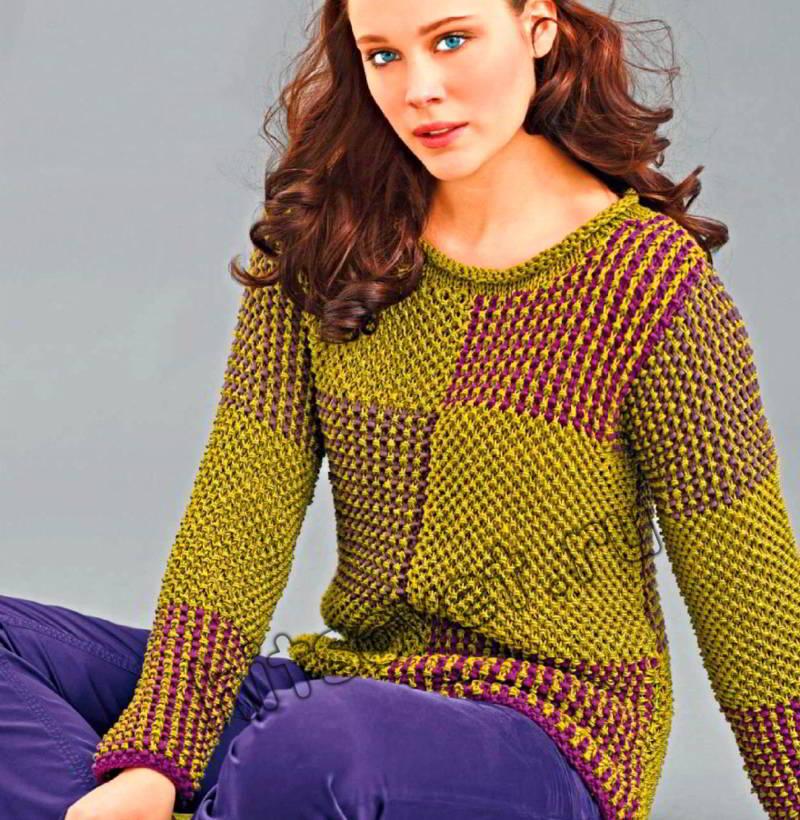 Пуловер мозаика, фото.