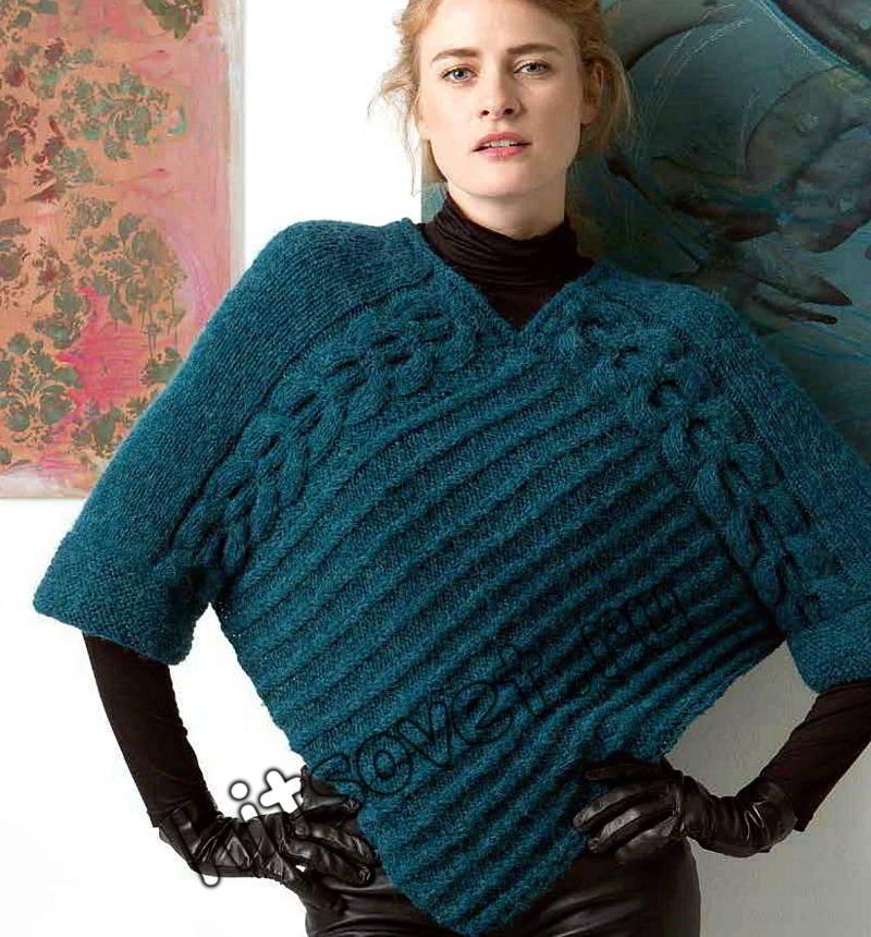 Вязание пуловера пончо