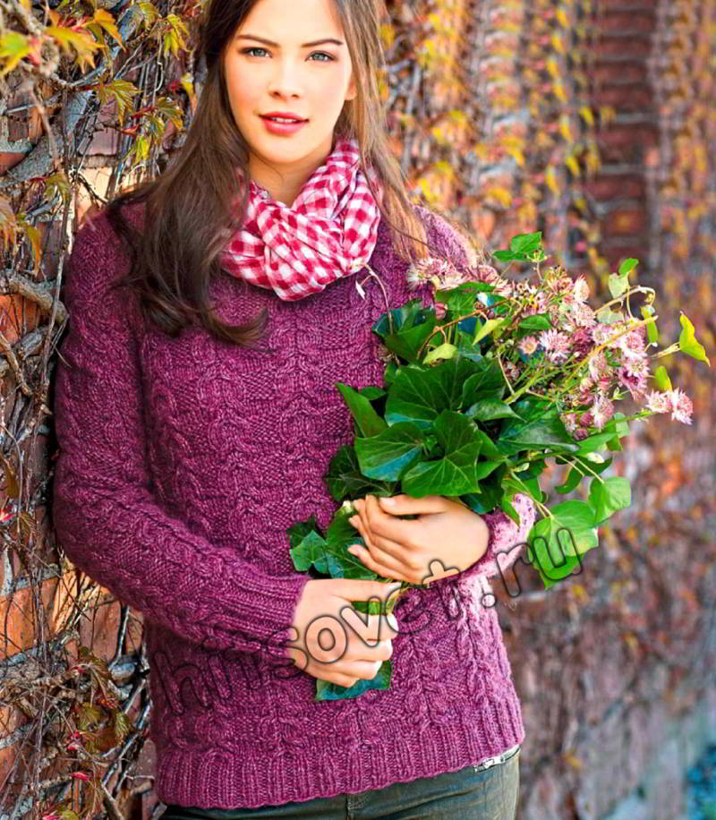 Вязание спицами пуловера с косами схема, фото.