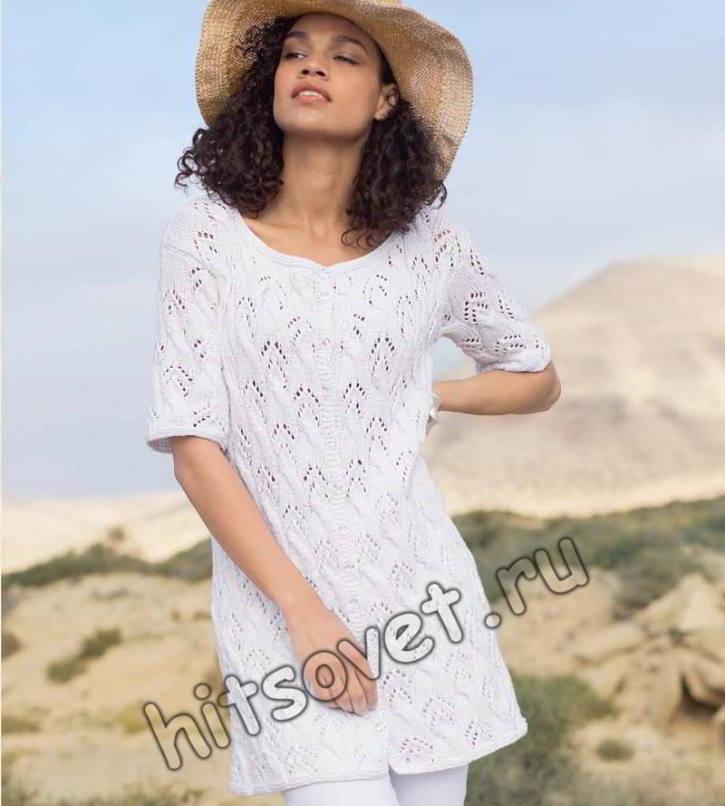 Жакет белый с косами