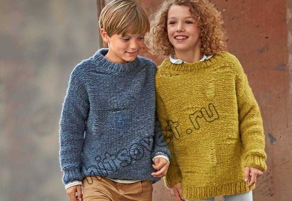Детский вязаный пуловер, фото.
