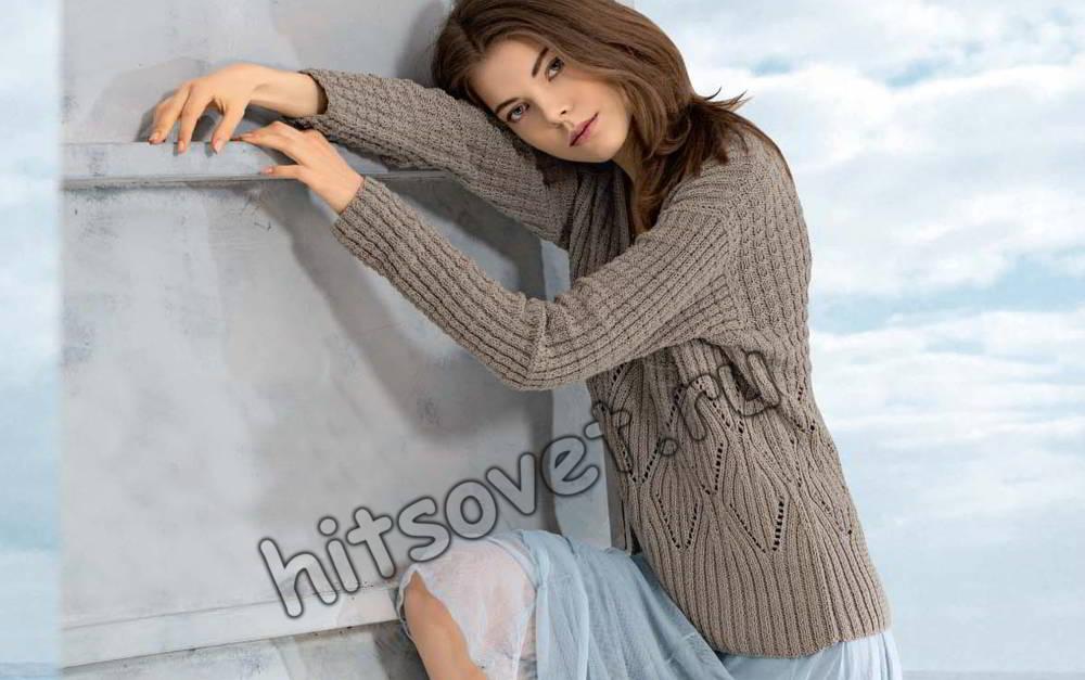 Модный джемпер спицами для девушки, фото.