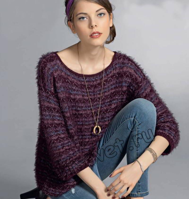 Пуловер из разной пряжи, фото.