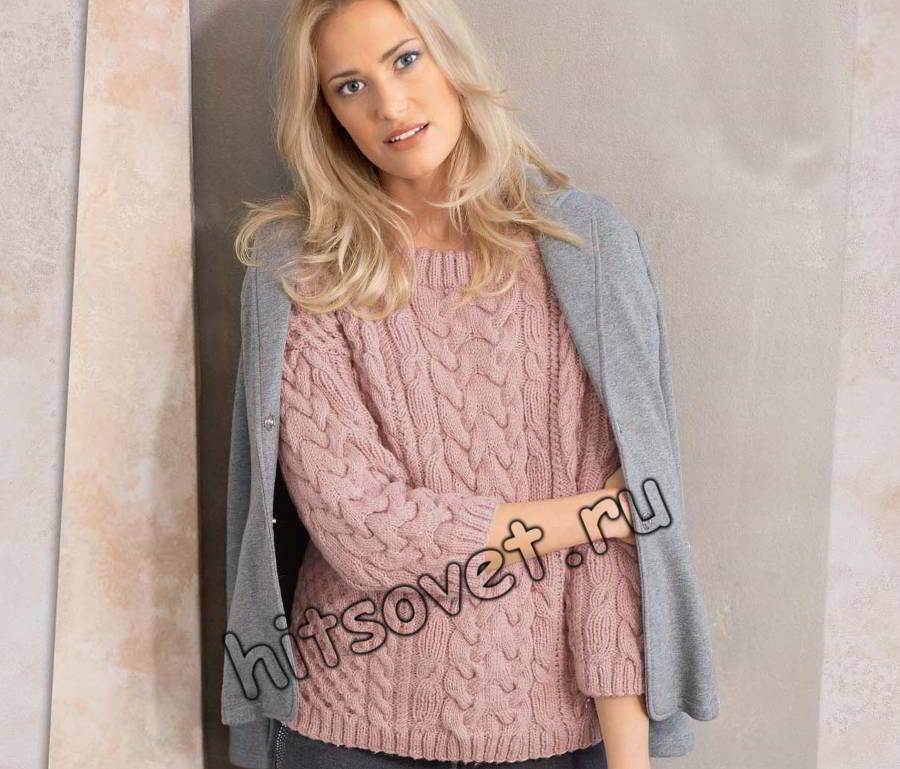 Пуловер розовый с косами, фото.