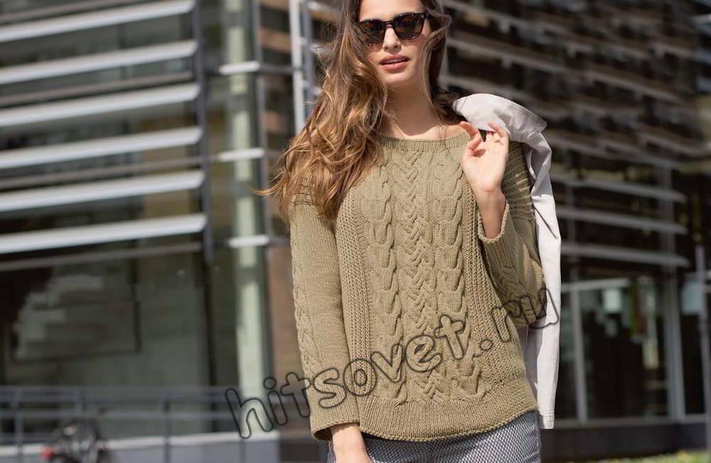 Пуловер женский с косами, фото.