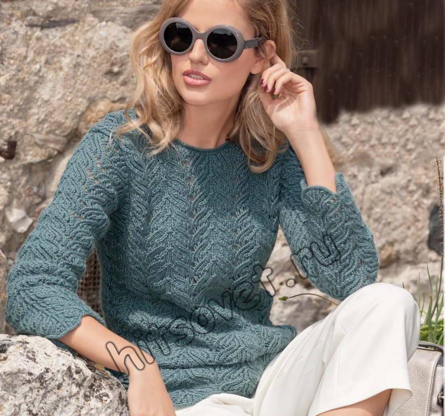 Вязание спицами пуловера, фото.