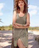 Вязаное платье с разрезом, фото.