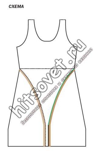 Вязаное платье с разрезом, схема.