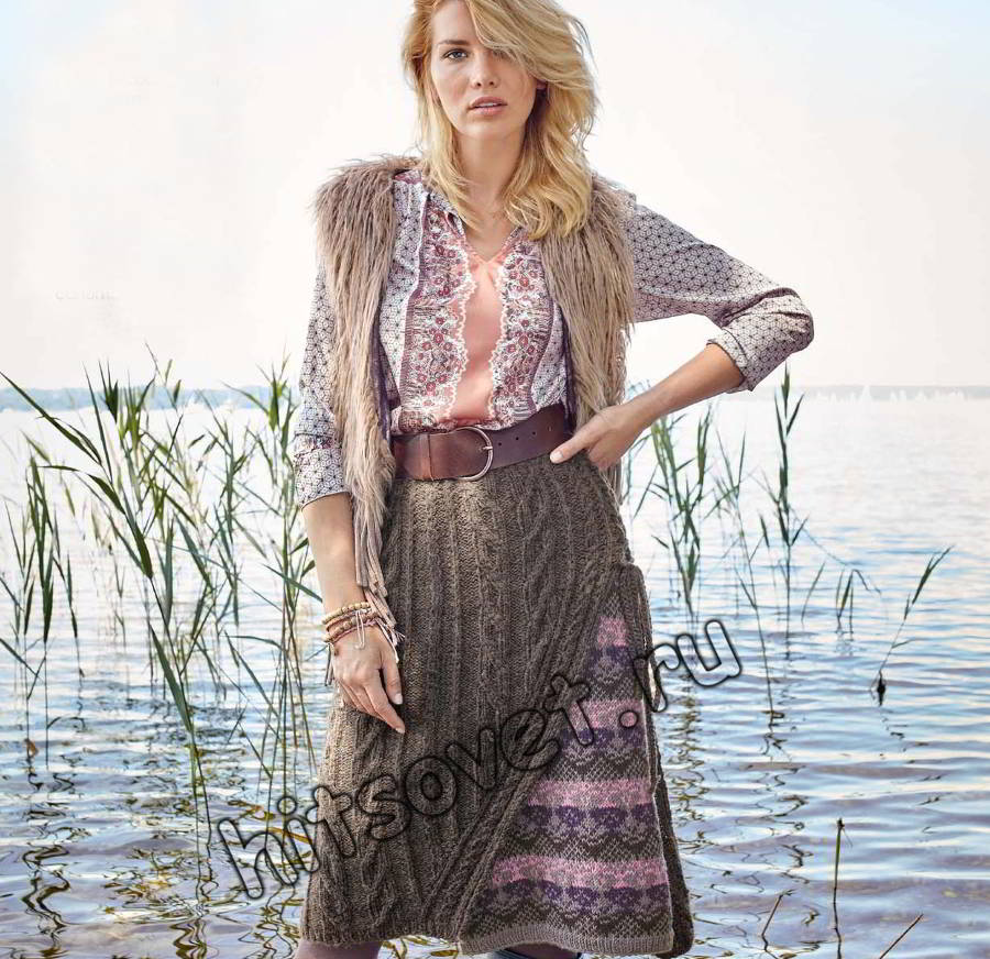 Красивая вязаная юбка, фото.