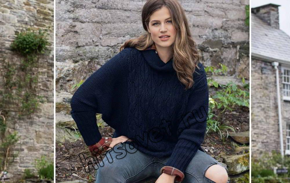Пуловер с рукавами летучая мышь, фото.