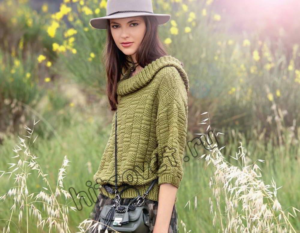 Пуловер с широким воротником, фото.
